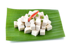 Raw tofu cut in dices Royalty Free Stock Photo