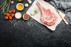 Raw tomahawk beef steak Stock Photography
