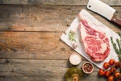 Raw tomahawk beef steak Stock Photo