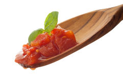Raw tomato pulp with basil Stock Photography
