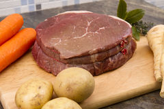 Raw top side of beef Stock Photos