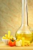 Raw tortiglioni pasta with other ingredients Royalty Free Stock Photos