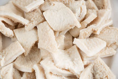Raw tripe pieces. Close up of raw tripe pieces in a dish stock images