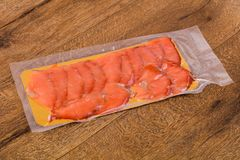 Raw trout fillet. With salt and spices Royalty Free Stock Photo