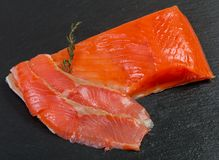Raw trout fillet. With salt and spices Royalty Free Stock Photos