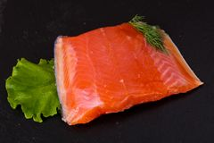 Raw trout fillet. With salt and spices Stock Photo