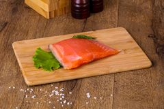 Raw trout fillet. With salt and spices Stock Image