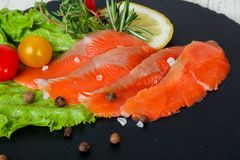 Raw trout fillet. With salt and spices Royalty Free Stock Photography