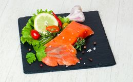 Raw trout fillet. With salt and spices Stock Images