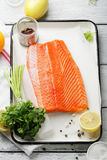 Raw trout fillet and spice Royalty Free Stock Image