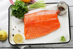 Raw trout fish fillet on baking dish Royalty Free Stock Image