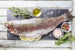 Raw trout fish. On slate with rosemary and lemon over white wooden table, top view stock photos