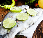 Raw Trout Seasoned with Lime Slices and Peppercorns Royalty Free Stock Images