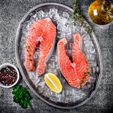 Raw trout stakes with lemon and rosemary on metal tray. Royalty Free Stock Photos