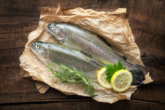 Raw trout Royalty Free Stock Images