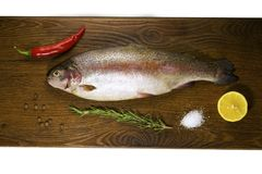 Raw trout on a wooden board Stock Image
