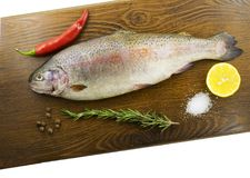 Raw trout on a wooden board Royalty Free Stock Photos