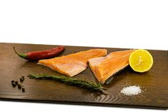 Raw trout on a wooden board Stock Photo