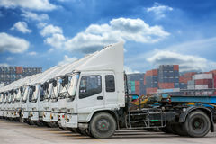 Raw of Truck in container depot Royalty Free Stock Photography