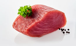 Raw Tuna with Black Peppercorns and Fresh Herbs Stock Photo