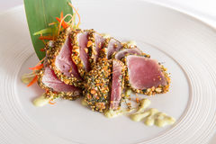 Raw tuna. Boneless raw tuna in spices Stock Images