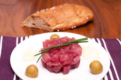 Raw tuna with chives Royalty Free Stock Photo
