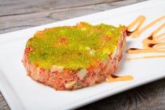 Raw tuna meat with caviar Royalty Free Stock Photo