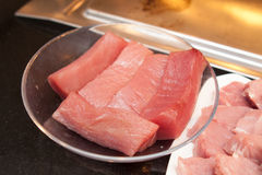 Raw tuna meat prepared for grill Royalty Free Stock Photography
