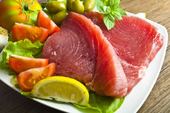 Raw tuna steak Royalty Free Stock Image