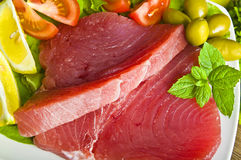 Raw tuna steak Royalty Free Stock Photography