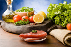 Raw Tuna Steak with Ingredients arround Royalty Free Stock Photography