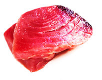 Raw tuna steak isolated on white background close up Royalty Free Stock Photography