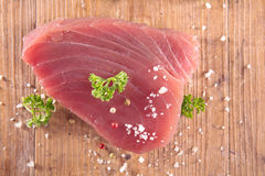 Raw tuna steak Royalty Free Stock Images