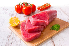 Raw tuna steak Stock Images