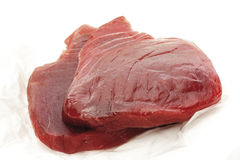 Raw tuna steaks, close-up Stock Photos