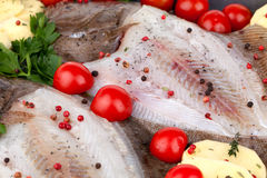Raw Turbot Fish Seasoned Royalty Free Stock Images