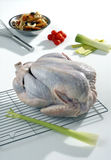 Raw turkey being prepared to cook Stock Images