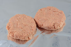 Raw turkey burgers Stock Photography
