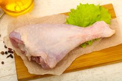 Raw turkey leg. Ready for cooking royalty free stock images