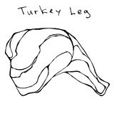 Raw Turkey Leg. Realistic Vector Illustration Isolated Hand Drawn Doodle or Cartoon Style Sketch. Fresh Fowl Meat. Raw Turkey Leg. Fresh Fowl Meat Carcass Stock Image