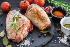 Raw turkey legs. royalty free stock images