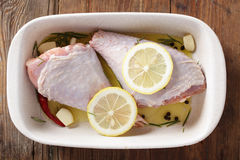 Raw turkey legs in white casserole Stock Images