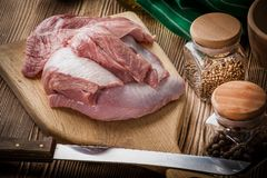 Raw turkey meat. Raw turkey meat on a wooden chopping board Stock Images