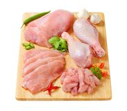 Raw turkey meats and cuts. On cutting board Royalty Free Stock Photography