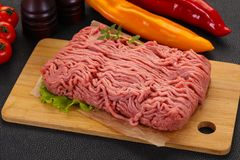 Raw turkey minced meat. For cooking stock photography