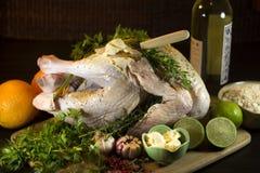 Raw turkey preparation Stock Photo