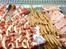 Raw Turkish Traditional Sish kebab, Meat, beef, meat ball ready for cook at a restaurant Royalty Free Stock Images