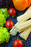 Raw udon noodles. And vegetables for cooking dishes Royalty Free Stock Photos