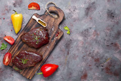 Raw uncooked beef steak meat Stock Image
