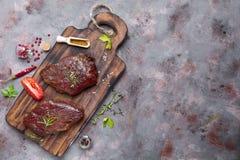 Raw uncooked beef steak meat Stock Photo
